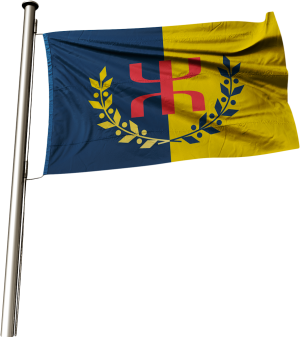Le Drapeau National Kabyle sur son mat (alpha)